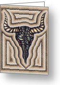 Pencil Drawing Digital Art Greeting Cards - Cow Skull  Greeting Card by Karen Musick