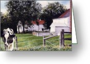 Photo-realism Painting Greeting Cards - Cow Spotting Greeting Card by Denny Bond
