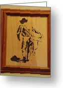 Scroll Saw Sculpture Greeting Cards - Cowboy and Saddle Greeting Card by Russell Ellingsworth