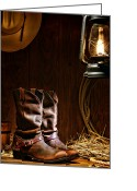 Spurs Greeting Cards - Cowboy Boots at the Ranch Greeting Card by Olivier Le Queinec
