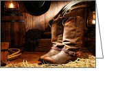 Spurs Greeting Cards - Cowboy Boots in a Ranch Barn Greeting Card by Olivier Le Queinec