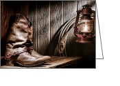 Spurs Greeting Cards - Cowboy Boots in Old Barn Greeting Card by Olivier Le Queinec