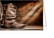 Spurs Greeting Cards - Cowboy Boots on Wood Floor Greeting Card by Olivier Le Queinec