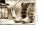 Spurs Greeting Cards - Cowboy Boots Outside Saloon Greeting Card by Olivier Le Queinec