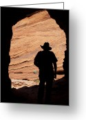 Redstone Greeting Cards - Cowboy Caveman Greeting Card by Julie Magers Soulen
