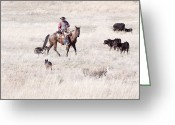 Idaho Artist Greeting Cards - Cowboy Greeting Card by Cindy Singleton