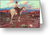 Open Range Greeting Cards - Cowboy Country Greeting Card by Pg Reproductions