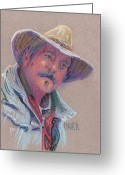 Cowboy Pastels Greeting Cards - Cowboy Greeting Card by Donald Maier
