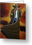 New York City Painting Greeting Cards - Cowboy Dust Greeting Card by Lance Headlee
