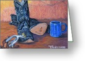 Realistic Pastels Greeting Cards - Cowboy Essentials Greeting Card by Tanja Ware