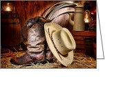 Gloves Greeting Cards - Cowboy Gear Greeting Card by Olivier Le Queinec