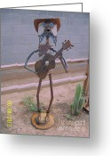 Landscapes Sculpture Greeting Cards - Cowboy Guitar Greeting Card by JP Giarde