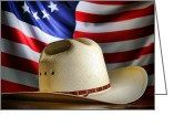 Cowboy Hat Photo Greeting Cards - Cowboy Hat and American Flag Greeting Card by Olivier Le Queinec