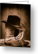 Sepia Greeting Cards - Cowboy Hat and Boots Greeting Card by Olivier Le Queinec