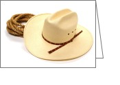 Cowboy Hat Photo Greeting Cards - Cowboy Hat and Rope Greeting Card by Olivier Le Queinec