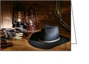 Rancher Greeting Cards - Cowboy Hat and Tools Greeting Card by Olivier Le Queinec