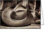Rodeo Greeting Cards - Cowboy Hat on Floor Greeting Card by Olivier Le Queinec