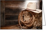 Diffused Greeting Cards - Cowboy Hat on Hay Bale Greeting Card by Olivier Le Queinec