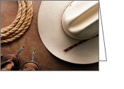 Spurs Greeting Cards - Cowboy Hat with Spurs and Rope Greeting Card by Olivier Le Queinec