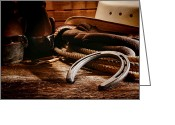 Riding Boots Photo Greeting Cards - Cowboy Horseshoe Greeting Card by Olivier Le Queinec