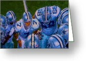 Athletes Greeting Cards - Cowboy Huddle Greeting Card by Steven Richardson