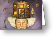 Star Barn Greeting Cards - Cowboy Karl Greeting Card by Leah Saulnier The Painting Maniac