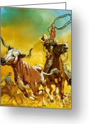 Longhorns Greeting Cards - Cowboy lassoing cattle  Greeting Card by Angus McBride