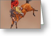 Bloomfield Greeting Cards - Cowboy On A Bucking Horse Greeting Card by Randy Follis