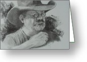 Western Pencil Drawing Greeting Cards - Cowboy Prayer Greeting Card by Mary Scott