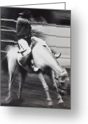 Rodeo Greeting Cards - Cowboy riding bucking horse  Greeting Card by Garry Gay