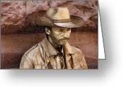 Cowboy Digital Art Greeting Cards - Cowboy Greeting Card by Rosi Lorz