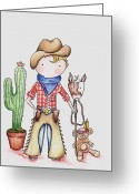 Pretending Greeting Cards - Cowboy Greeting Card by Sarah LoCascio