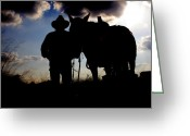 Contest Greeting Cards - Cowboy Silhouette Greeting Card by Toni Hopper
