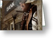Pensive Greeting Cards - Cowboy Smoking a Cigar Outside of a Bank Building Greeting Card by Oleksiy Maksymenko