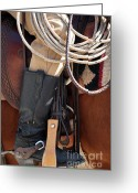 Cowboy Boots Greeting Cards - Cowboy Tack Greeting Card by Joan Carroll