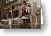 Pensive Greeting Cards - Cowboy Waiting Outside of a Bank Building Greeting Card by Oleksiy Maksymenko