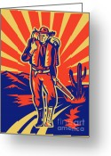 Wild West Greeting Cards - Cowboy with backpack and rifle walking Greeting Card by Aloysius Patrimonio