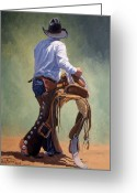 Bronc Greeting Cards - Cowboy With Saddle Greeting Card by Randy Follis