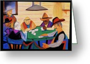 Fun Pastels Greeting Cards - Cowboys And Cards Greeting Card by Rod  Grier