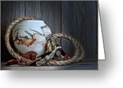 Rope Greeting Cards - Cowboys and Indians Greeting Card by Tom Mc Nemar