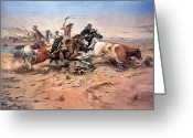 Western Canada Landscape Art Greeting Cards - Cowboys roping a steer Greeting Card by Charles Marion Russell