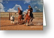 Quarter Horse Photo Greeting Cards - Cowboys Toys Greeting Card by Karen Slagle