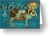Southwestern Greeting Cards - Cowchina Greeting Card by Laura Brightwood