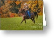 Quarter Horses Greeting Cards - Cowgirl Greeting Card by Susan Candelario