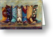 Cowboys Greeting Cards - Cowgirls Kickin the Blues Greeting Card by Frances Marino