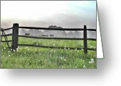Wooden Fence Greeting Cards - Cows in Field Greeting Card by Bill Cannon