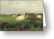 Livestock Painting Greeting Cards - Cows in Field Greeting Card by Walter Frederick Osborne