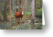Spanish Peaks Greeting Cards - Cows in the Woods Greeting Card by Joshua Martin