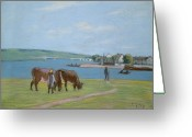 Cattle Greeting Cards - Cows on the Banks of the Seine at Saint Mammes Greeting Card by Alfred Sisley