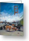 Golden Gate Painting Greeting Cards - Cows on the Bridge 1 Greeting Card by Kathryn LeMieux